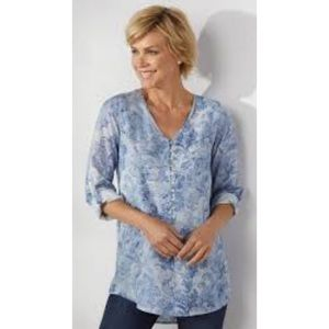 Soft Surroundings Sardinia Floral Blue Tencel Top